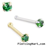 14K Gold Nose Bone with 1.5mm Round Emerald CZ, 22 Ga