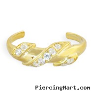 10K real gold spiral toe ring with paved gems