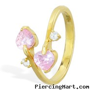 10K real gold spiral toe ring with pink hearts and clear gem