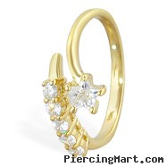 10K real gold toe ring with multi-gems and jeweled star