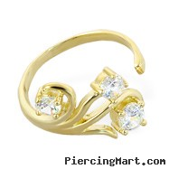 10K real gold toe ring with multi-gems