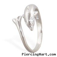 .925 Sterling Silver Dolphin Toe Ring