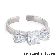 .925 sterling silver jeweled bow toe ring