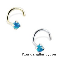 14K Gold Nose Screw with 2mm Round Teal Opal, 20 Ga