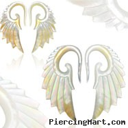 Pair of Hand carved mother of pearl angel wing tapers