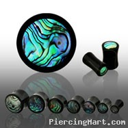 Pair Of Black Horn Plugs with Abalone Shell Inlay