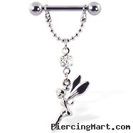 Nipple ring with dangling chain and fairy, 12 ga or 14 ga