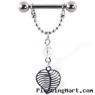 Nipple ring with dangling chain and leaf, 12 ga or 14 ga
