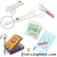 9-Piece Nipple Piercing Starter Kit, 14 Or 12 Gauge