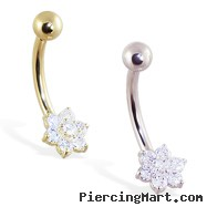 14K Gold Belly Ring with Gorgeous Flower Cluster