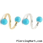 "14K Gold Spiral Barbell With Turquoise Balls, 18 Ga,Diameter:1/4"" (6Mm),Ball Size:1/8"" (3Mm),Gold Co"