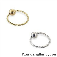 14K Gold Twisted Captive Bead Ring