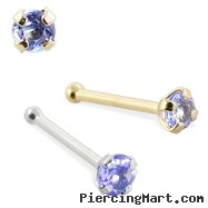 14K Gold Nose Bone with Genuine Tanzanite, 22 Ga