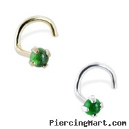 14K Gold Nose Screw with Genuine 2mm Round Cabochon Emerald