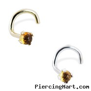 14K Gold Nose Screw With Genuine 2Mm Round Cabochon Citrine