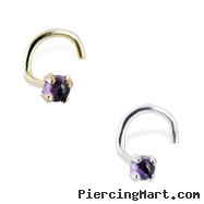 14K Gold Nose Screw with Genuine 2mm Round Cabochon Amethyst