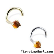 14K Gold Nose Screw with Genuine 2mm Round Cabochon Amber, 20 Ga