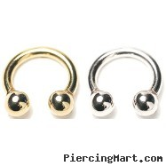 "14K Gold Circular Barbell, 12 Ga,Diameter:5/16"" (8mm),Ball size:5/32"" (4mm),Screw Balls,One Fixed Ba"