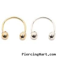 "14K Gold Circular Barbell, 22 Ga,Diameter:3/8"" (10mm),Ball size:1/8"" (3mm),Screw Balls,One Fixed Bal"