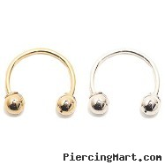 "14K Gold Circular Barbell, 22 Ga,Diameter:7/16"" (11mm),Ball size:5/32"" (4mm),Screw Balls,One Fixed B"