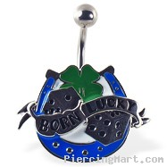 """BORN LUCKY"" navel ring with dice, horseshoe, and clover"