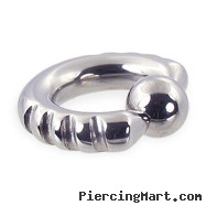 Fancy 4 notch captive bead ring, 6 ga