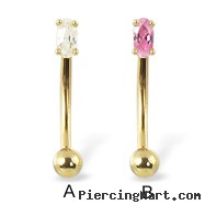 14K yellow gold curved barbell with oval shaped gem, 16 ga