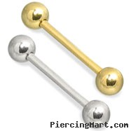 14K Gold Straight Barbell, 12 Ga