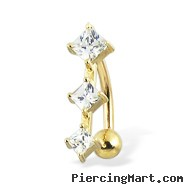 14K yellow gold reversed belly button ring with three square CZ