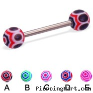 Web ball titanium straight barbell, 14 ga
