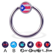 Captive bead ring with logo ball, 14 ga