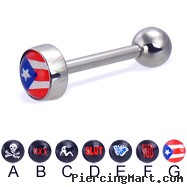 Logo tongue ring, 12 ga