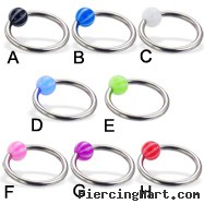 Captive bead ring with beach ball, 14 ga