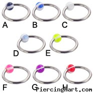 Captive bead ring with 4-section glitter ball, 14 ga