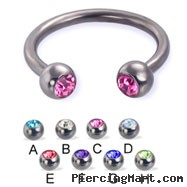 Titanium jeweled circular barbell, 12 ga