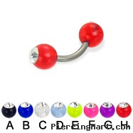 Acrylic ball with stone titanium curved barbell, 14ga