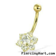 14K Gold Jeweled Flower Navel Ring
