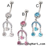 Belly button ring with horseshoe and three dangling gems