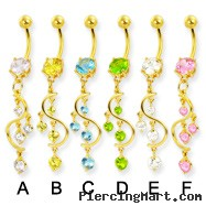 Gold Tone belly button ring with gems on a vine