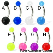 Acrylic ball belly button ring
