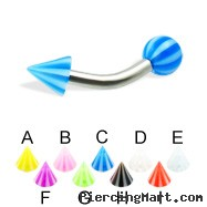 Beach ball and cone curved barbell, 12 ga