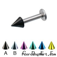 Colored cone labret, 12 ga