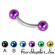 Curved barbell with colored balls, 14 ga