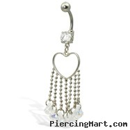 Belly button ring with heart and dangles