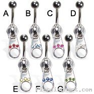 Jeweled zipper belly button ring