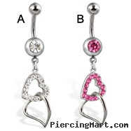 Belly button ring jeweled ball and hearts