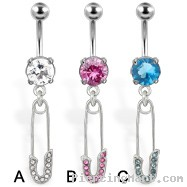 Belly button ring with dangling safety pin