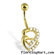 14K Yellow Gold Navel Ring With Two Jeweled Hearts