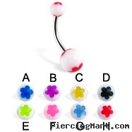 Acrylic flower belly button rings