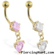 Gold Tone belly ring with dangling heart